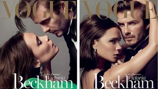 Victoria and David Beckham strike a pose for Vogue Paris' Christmas issue, which she guest edited.
