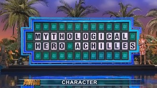Mythological Hero Achilles is shown on the Wheel of Fortune board.