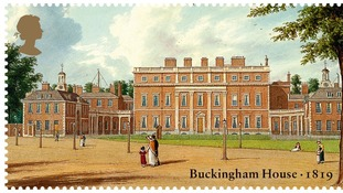 A watercolour showing Buckingham House as it was in 1819 as part of the Royal Mail's new stamp issue