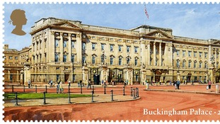 A watercolour of Buckingham Palace as it appears today as part of the Royal Mail's new stamp issue