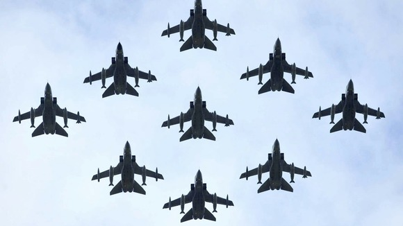 RAF Tornados fly in formation during the flypast at RAF Fairford as part of the Royal International Air Tattoo
