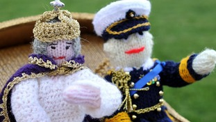 The Queen and Prince Philip made of wool