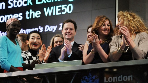 Deputy Prime Minister Nick Clegg opens trading at the London Stock Exchange along with 50 high profile business women