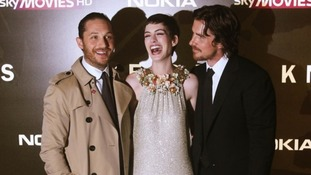 Tom Hardy, Anne Hathaway and Christian Bale at the Dark Knight Rises premiere in London on Wednesday. Credit: PA