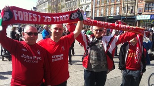 Forest and Liverpool fans gather in Market Square