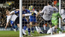 Gareth Bale's clearance helped spurs to a 3-1 win