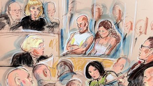 Sketch showing Michael and Mairead Philpott in court today