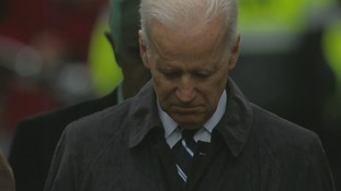 US Vice President Joe Biden observes the minute's silence at the memorial event.