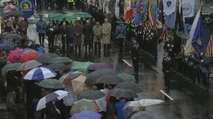 The Boston Marathon bombing memorial event took place near the race's finish line.