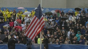 Following the minute's silence an American flag was unfurled as the crowd sang the National Anthem.