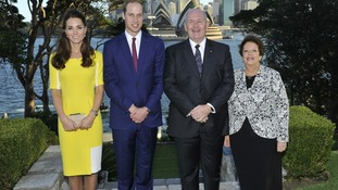Their Royal Highness The Duke and Duchess of Cambridge and the Governor-general and Lady Cosgrove at Admiralty House, Sydney.