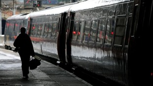 Passenger walks alongside train at platform