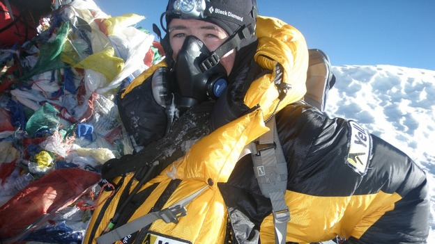 Matthew Dieumegard-Thornton on top of Mount Everest