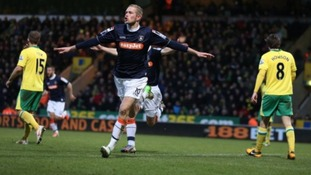Scott Rendell celebrates scoring against Premier League Norwich City in the FA Cup.