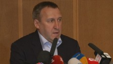 Ukraine's foreign minister Andriy Deshchytsia speaks at a press conference in Geneva.