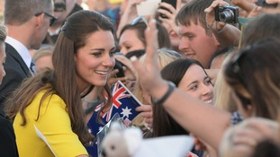The Duchess of Cambridge is greeted by well-wishers at the Sydney Opera House.