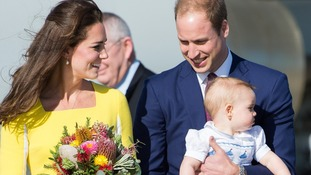The Duke and Duchess of Cambridge arrive in Australia with Prince George to begin their 10-day tour.