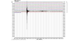 A graph from the British Geological Survey graph shows the impact at 06:07 UTC (07:07 BST).