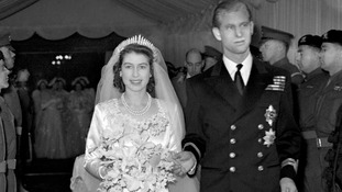 Queen Elizabeth and Prince Philip after their wedding on 20 November 1947