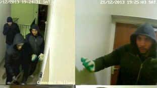 The men used a sledgehammer to try to smash their way into the flat