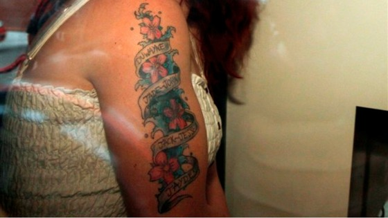 Mairead Philpott&#x27;s tattoo with the names of her six dead children