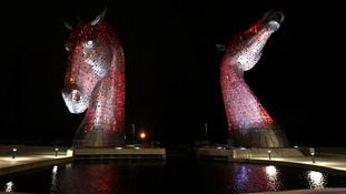 The Kelpies are 30 meteres high and weigh over 300 tonnes each