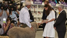 Kate and William meet Fred the ram at Royal Easter Show