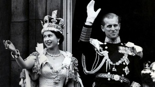Queen Elizabeth II and the Duke of Edinburgh after the Coronation