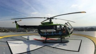 Ageing air ambulance tries out new helipad