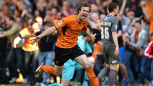 Wolverhampton Wanderers' Kevin McDonald celebrates scoring his team's sixth goal