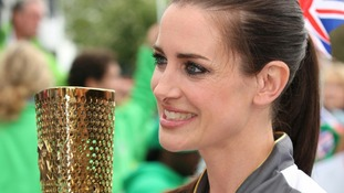 Kirsty Gallacher waiting to carry the Olympic Flame