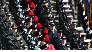 Members of the Italian army march in Saint Peter's Square at the Vatican.