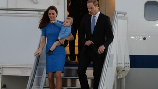 The Duke and Duchess of Cambridge and their son Prince George arrive in Canberra.