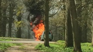Family speak after car catches fire in lion enclosure