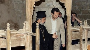 Pictures of Bashar al-Assad visiting a 4th century monastery were posted on his Instagram account