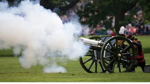 The King's Troop Royal Horse Artillery fire a 41 Gun Royal Salute at Green Park