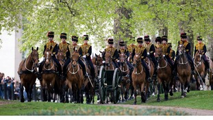 The King's Troop Royal Horse Artillery arrive in The Green Park