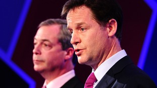 Nigel Farage and Nick Clegg during one of their debates over Britain's involvement in the European Union