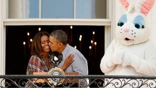 The First Lady and the President at the White House, next to the Easter Bunny