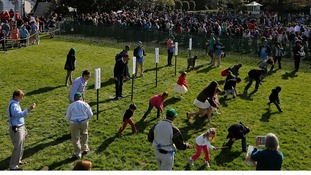 The Easter Egg Roll gets under way on the White House lawn