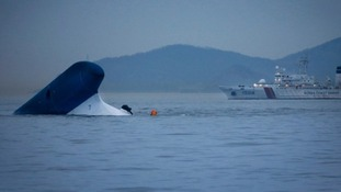 The capsized Sewol ship.