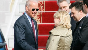 Joe Biden met with Ukrainian officials as he landed at Boryspil on Monday.