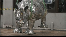 Rhino sculpture being installed