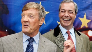 Former Tory party donor Paul Sykes with Nigel Farage at the launch of UKIP's European election billboard campaign