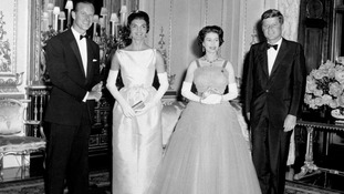 The Duke of Edinburgh and the Queen with US President John Kennedy and his wife Jacqueline at Buckingham Palace