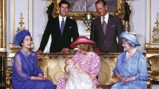 The Royal family at Buckingham Palace, London, on the day of Prince William's christening