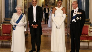 Queen Elizabeth II and the Duke of Edinburgh pose with U.S. President Barack Obama and First Lady Michelle Obama at Buckingham Palace