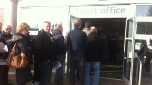 Fans queueing for tickets at the KC Stadium