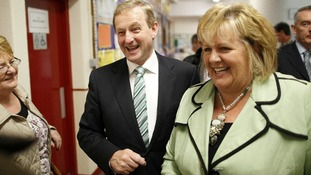 Taoiseach Enda Kenny arrives with his wife Fionnuala at St. Patrick's De La Salle Boys National School , Castlebar, Co. Mayo
