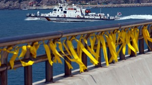 Yellow ribbons dedicated to the missing and dead passengers onboard the capsized Sewol ferry